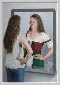 Spiegel, Mädchen, Acrylmalerei, Zeitalter