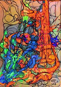 Abstrakt, Orange, Blau, Acrylmalerei