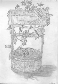 Brunnen, Efeu, Zeichnung, Stillleben