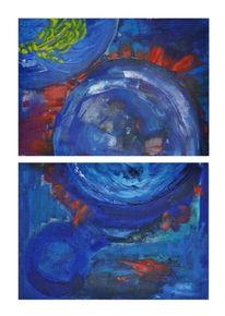 Malerei, Blau, Planet, Abstrakt