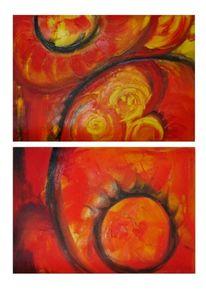 Malerei, Rot, Planet, Abstrakt
