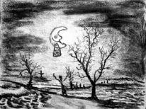 Skizze, Landschaft, Knorzel, Mond
