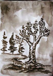 Tuschmalerei, Skizze, Zeichnung, Zeichnungen