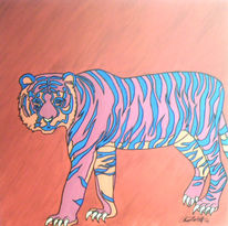 Tiere, Tiger, Malerei, Pink