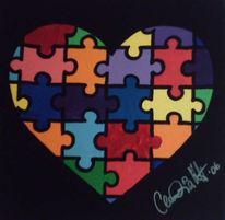Herz, Puzzle, Malerei