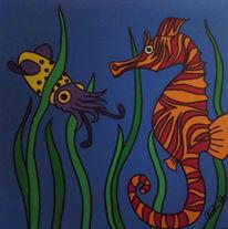 Unterwasser, Tiere, Seepferdchen, Malerei