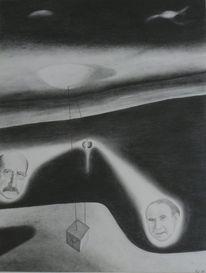 Quanten, Physiker, Zeichnung, Surreal