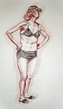 Portrait, Zeichnung, Zeichnungen, Strand