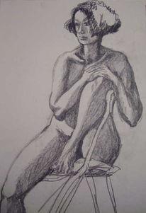 Studie, Portrait, Frau, Akt