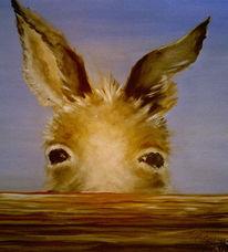 Tiere, Figural, Esel, Malerei