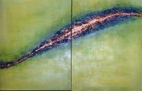 Fluss, Grün, Abstrakt, Blau