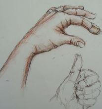 Skizze, Anatomie, Hände, Zeichnung