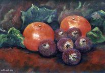 Früchte, Stillleben, Malerei, Mandarine