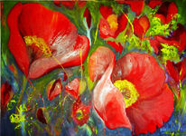 Flora, Blüte, Malerei, Mohn