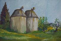 Mühle, Malerei, Landschaft, Toskana