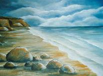 Landschaft, Klippe, Meer, Malerei