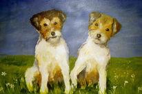 Malerei, Hund, Figural, Tiere
