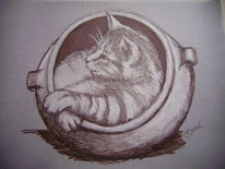 Portrait, Tontopf, Katze, Zeichnung