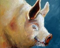 Landschaft, Schwein, Malerei, Tiere