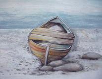 Meer, Malerei, Schiff, Wasser