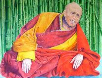 Figural, Tibet, Bambus, Malerei