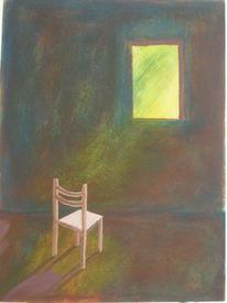Stuhl, Fenster, Einsamkeit, Rosa