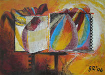 Abstrakt, Rot, Gelb, Blau