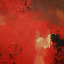 Red vulcano thera, Rood, Schilder, Malerei