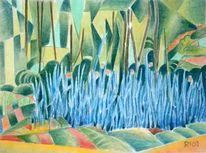 Landschaft, Zeichnung, Farbstift, Papier