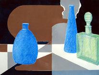 Glas, Stillleben, Druckfarbe auf papier, Mischtechnik