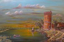 Realismus, Malerei, Häuser, Wasser