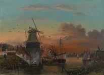 Mühle, Zeitgenössischer maler, Boot, Romantik