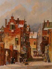 Winter, Romantik, Menschen, Holländische malerei