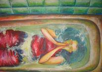 Wasser, Klamotte, Acrylmalerei, Badewanne