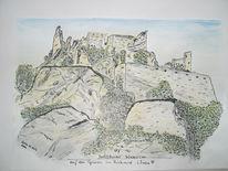 Zeichnung, Landschaft, Zeichnungen, Burg