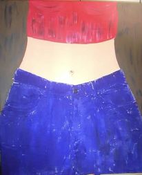 Jeans, Figural, Mädchen, Malerei