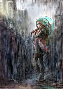 Regen, Illustration, Blockparty, Türkis