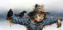 Krähe, Gold, Scheuchen, Winter