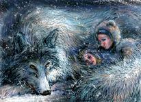 Sisters, Wolf, Illustration, Nooton