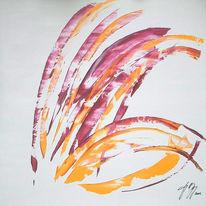 Gelb, Rosé, Blumen, Acrylmalerei
