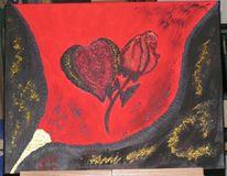 Rose, Malerei, Herz, Pflanzen