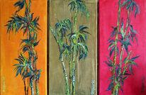 Malerei, Bambus, Triptychon