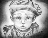 Portrait, Baby, Kohlezeichnung, Zeichnung