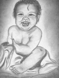 Portrait, Kohlezeichnung, Baby, Zeichnung