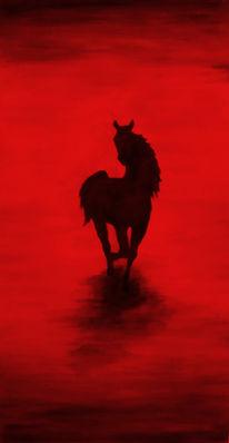 Malerei, Pferde, Rot, Abstrakt