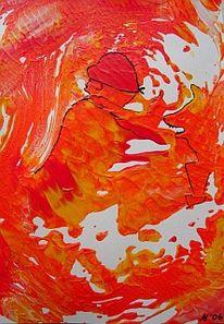 Malerei, Abstrakt, Mann, Flucht