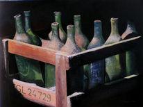 Acrylmalerei, Malerei, Stillleben, Flasche