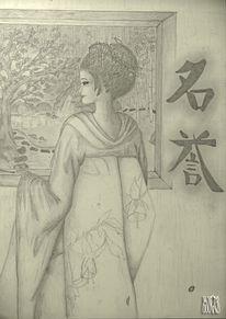 Figural, Japanisch, Malerei, Geisha