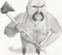 Axt, Mann, Zeichnung, Böse