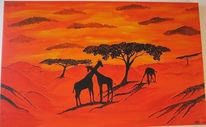 Malerei, Landschaft, Afrika